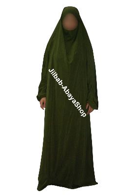 Achat jilbab en ligne pas cher. Jilbab 1 pi�ce kaki. Jilbab avec bandeau int�gr�. Jilbab pas cher et de qualit� chez Jilbab-AbayaShop abaya pas cher